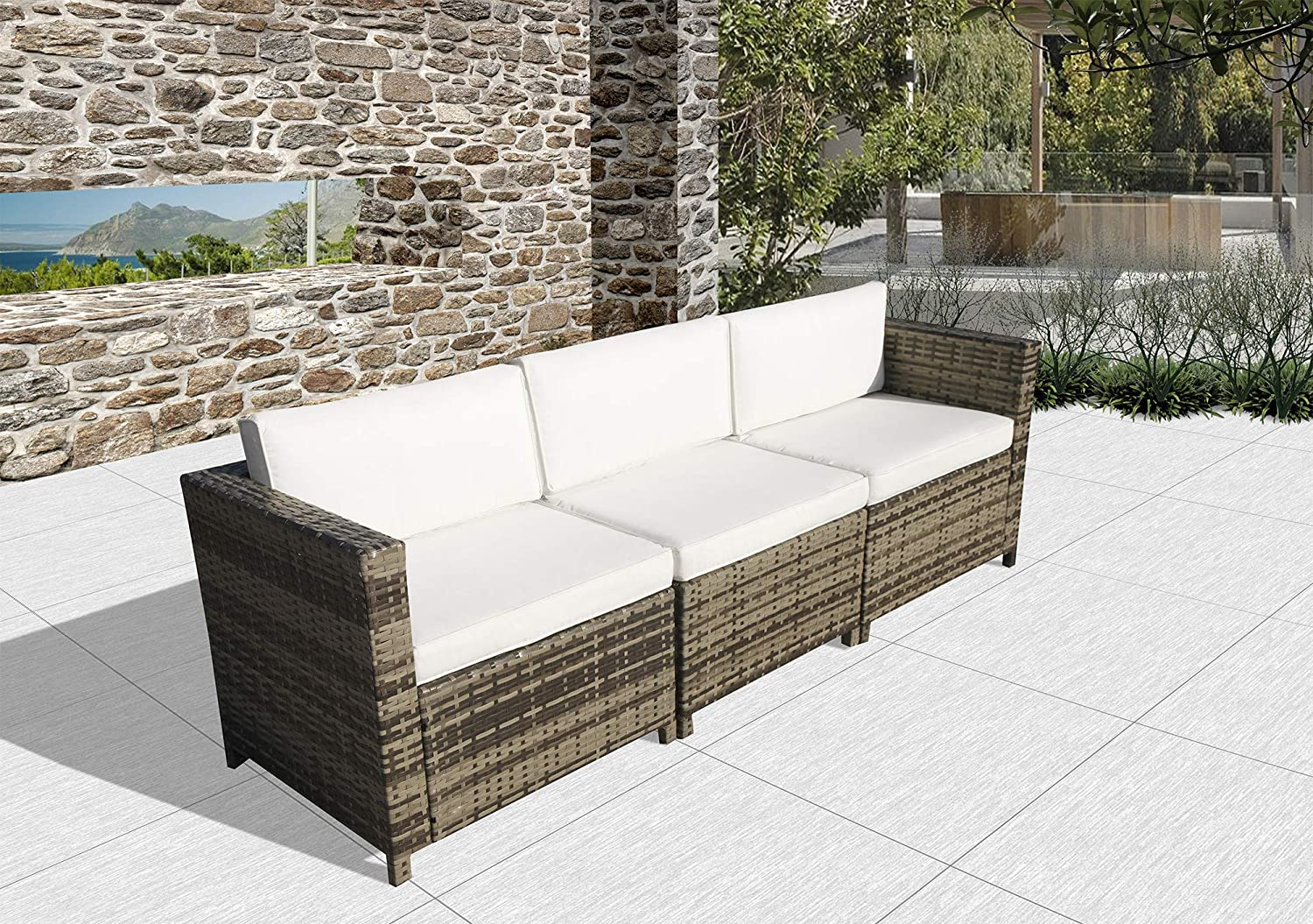 SUNVIVI OUTDOOR All Weather Outdoor 3-Seater Patio Sofa with Cushions in a PE Grey Wicker, 2 Corner Sofas and 1 Armless Sofa with White Cushions