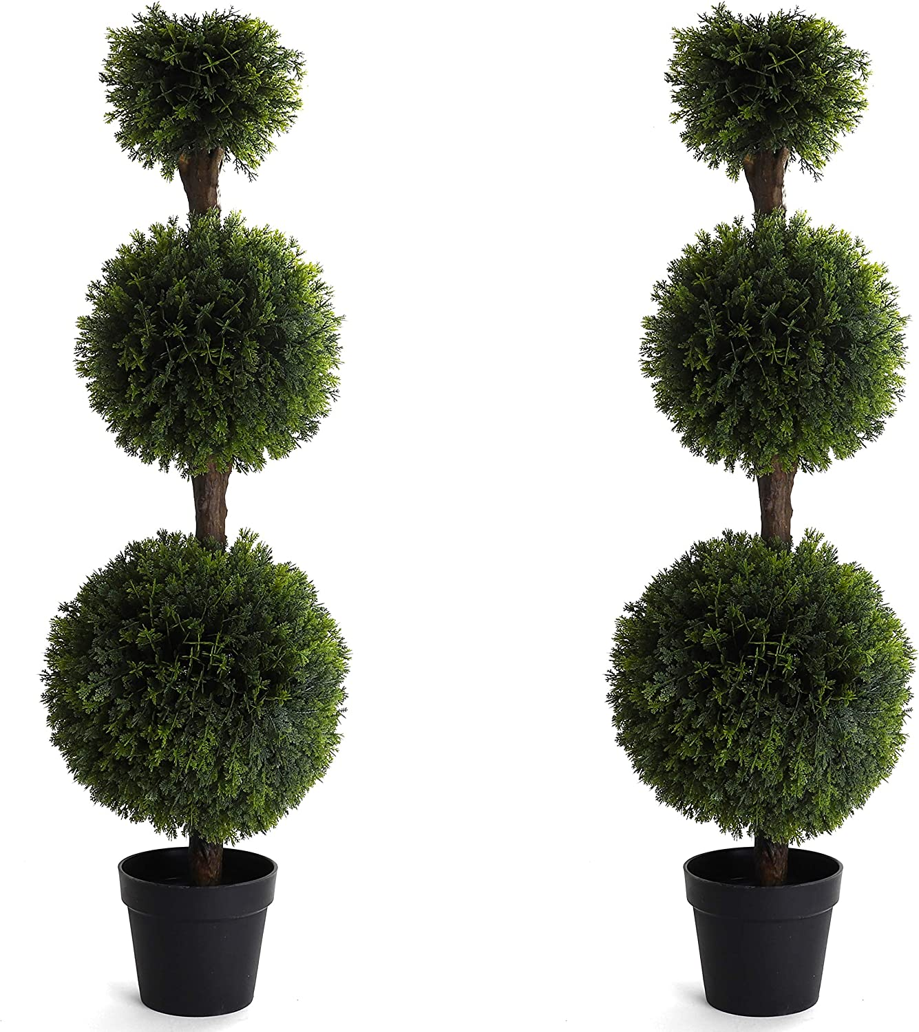 momoplant Artificial Cypress Ball Plant Round Cedar Cypress Topiary Tree Plants Indoor Outdoor Realistic Potted Shrub D/écor 20.8 Inchs With Black Pot