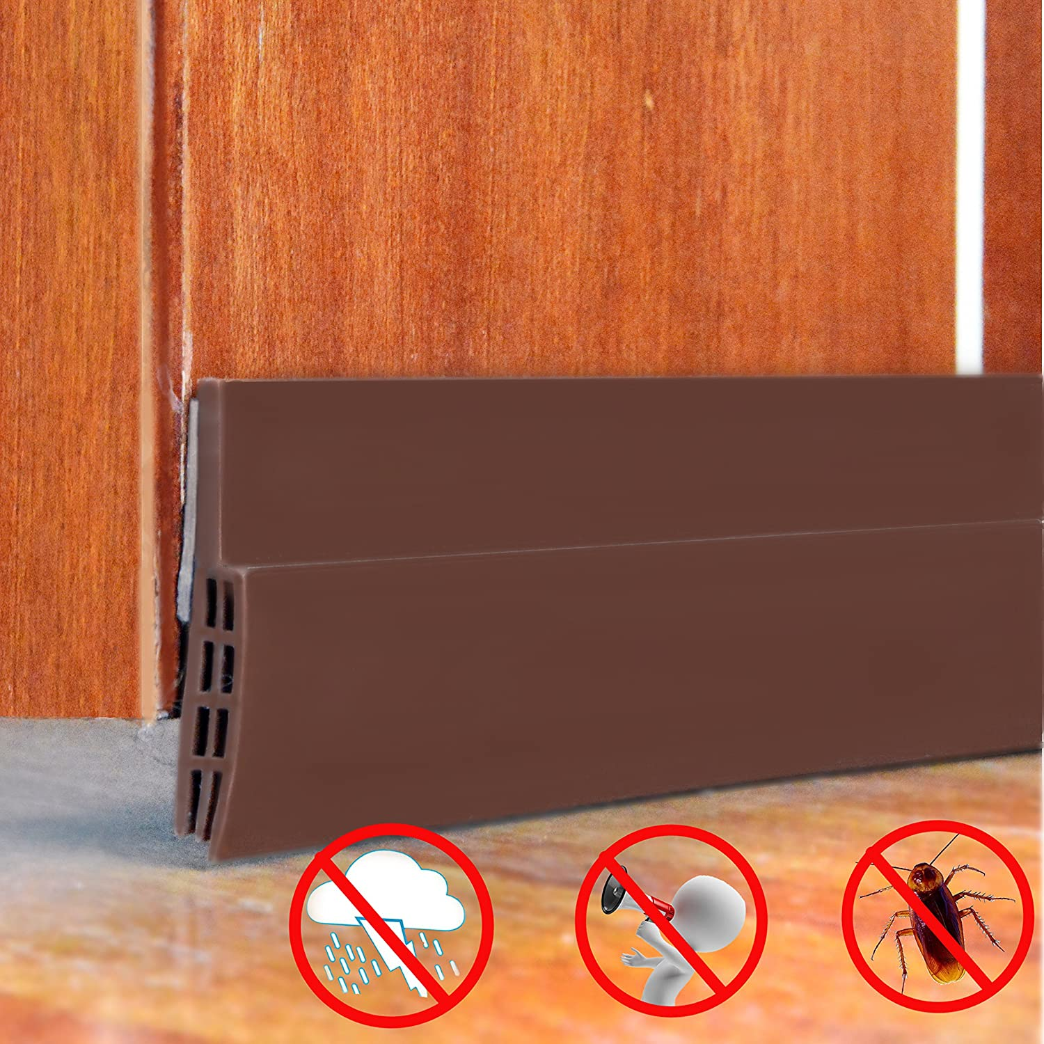 "Sound Proof Door Strip - Under Door Sweep Weather Stripping Seal Draft Stopper Sound Proof and Block Cold Hot Air 1.6"" Width x 39"" Length"