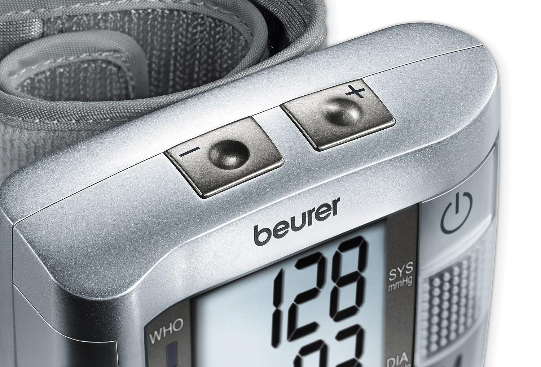 Beurer BC-19 - Tensiómetro de muñeca con voz, indicador OMS, memoria 2 x 60 mediciones: Amazon.es: Salud y cuidado personal