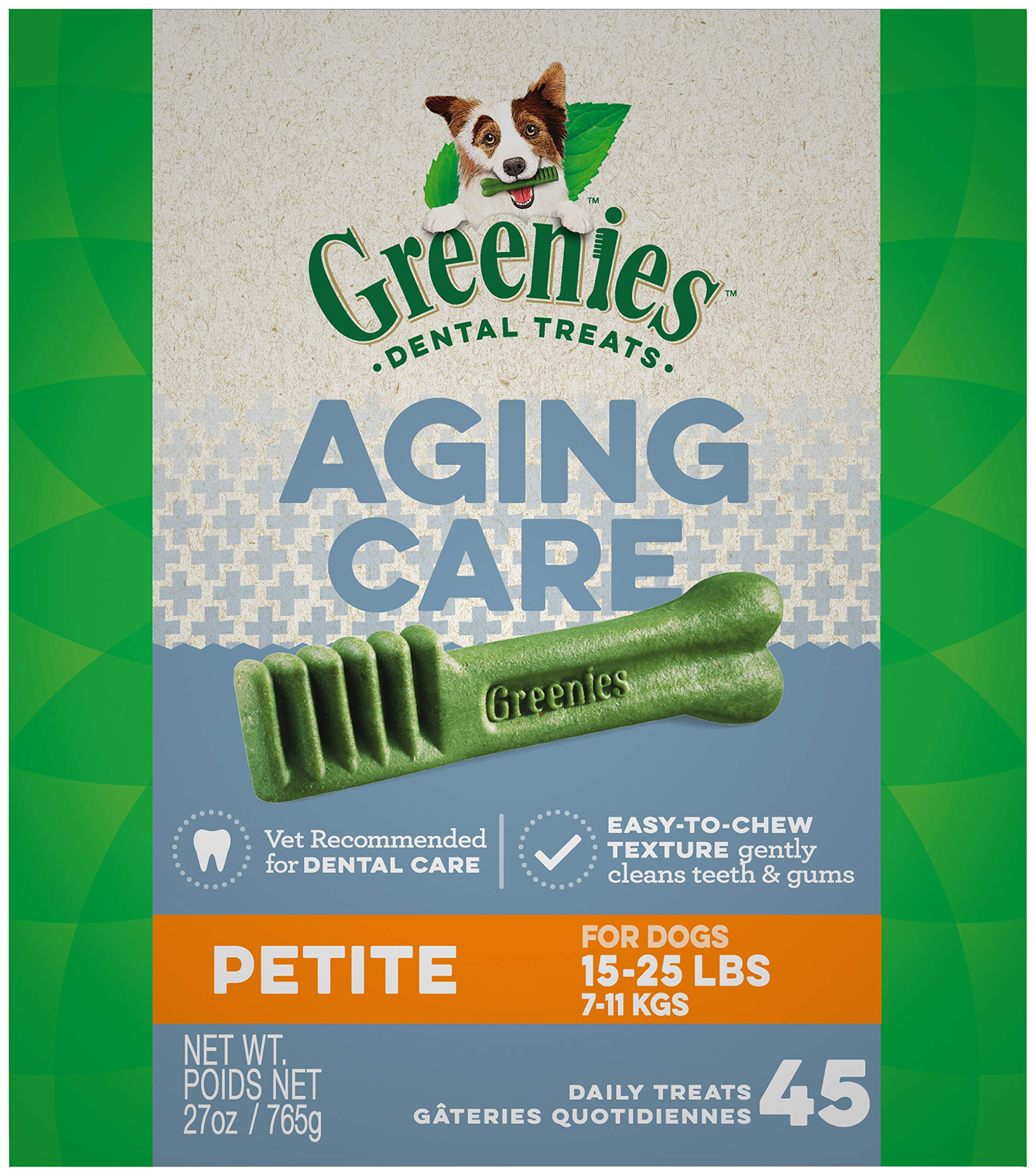 GREENIES Aging Care Petite Natural Dog Dental Care Chews Oral Health Dog Treats, 27 oz. Pack (45 Treats) by Greenies