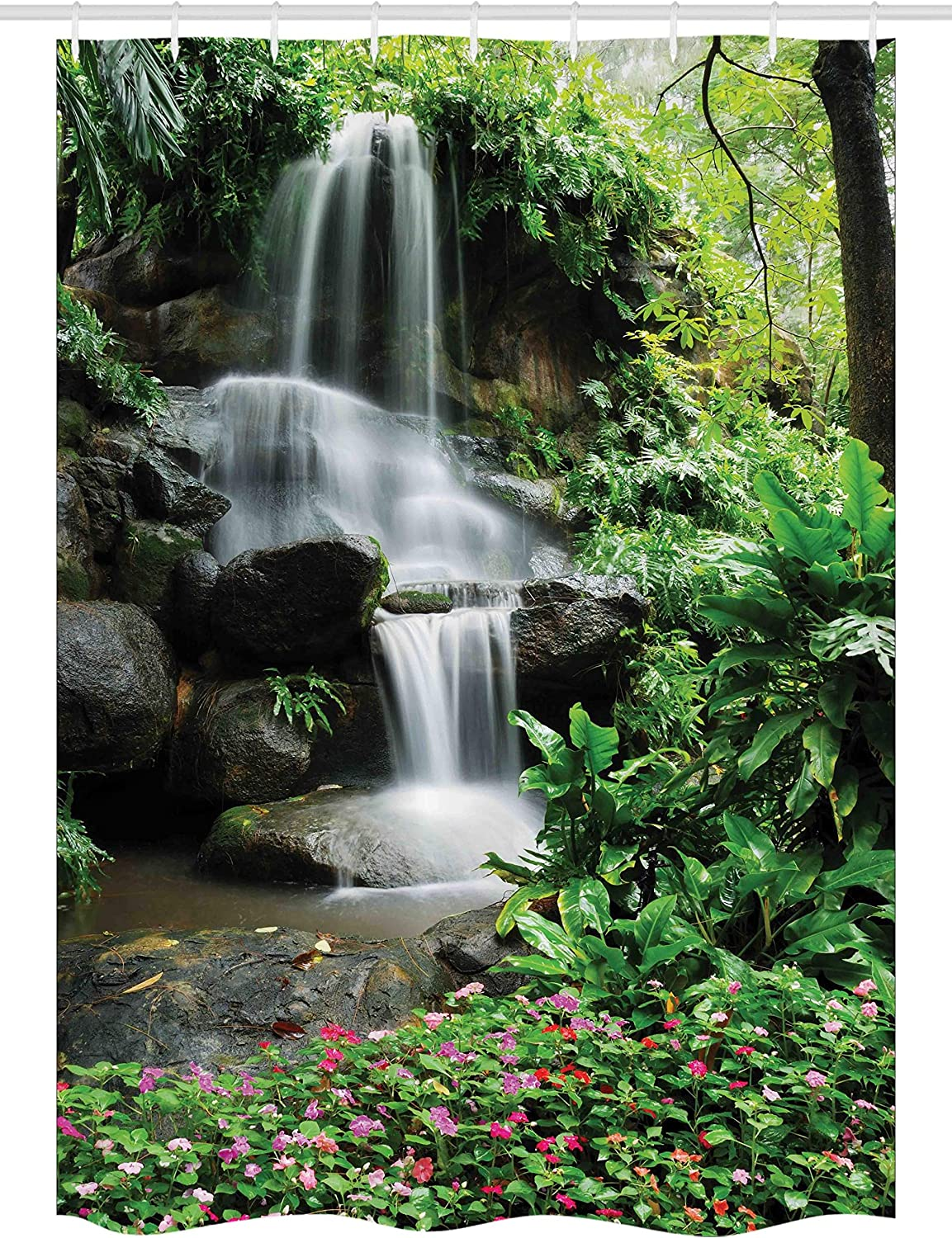 Ambesonne Waterfall Stall Shower Curtain, Waterfall Pond Flowers Tropical Plants Majestic Fresh Jungle Garden, Fabric Bathroom Decor Set with Hooks, 54