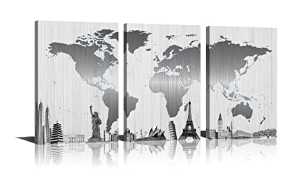 Amazon youk art world map painting canvas silver wall art black youk art world map painting canvas silver wall art black and white little blue eiffel gumiabroncs Gallery