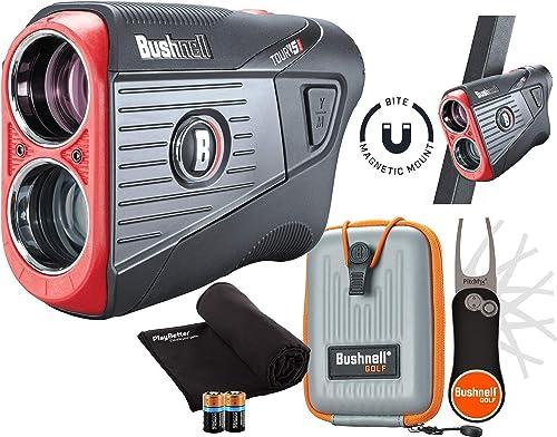 Bushnell Tour V5 Shift Slope Golf Laser Rangefinder Patriot Pack Bundle 2020 Carrying Case, Bushnell PlayBetter Pitchfix Tool, Microfiber Towel, Two Batteries Pinseeker Jolt, 6X Mag 201911P