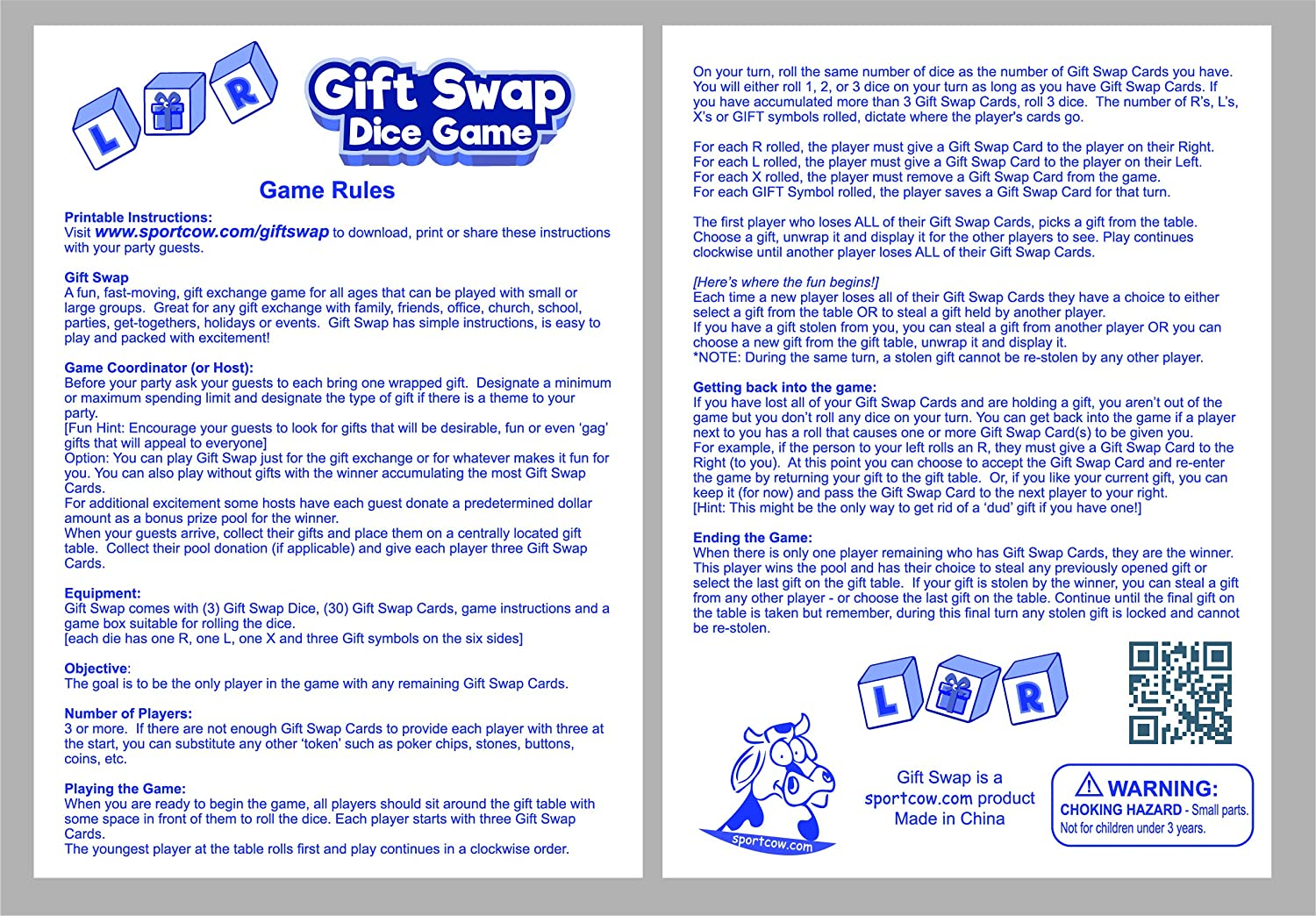 Christmas Gift Exchange Dice Game Printable.Gift Swap Dice Game By Sportcow Exchange Gifts With Family And Friends At Parties Home Office Church School Holidays Events Easy To Learn