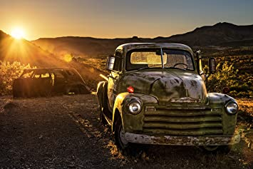 -Retro Oldtimer USA Route 66 Classic Car 2573V VLIES Fototapete-VINTAGE AUTO-
