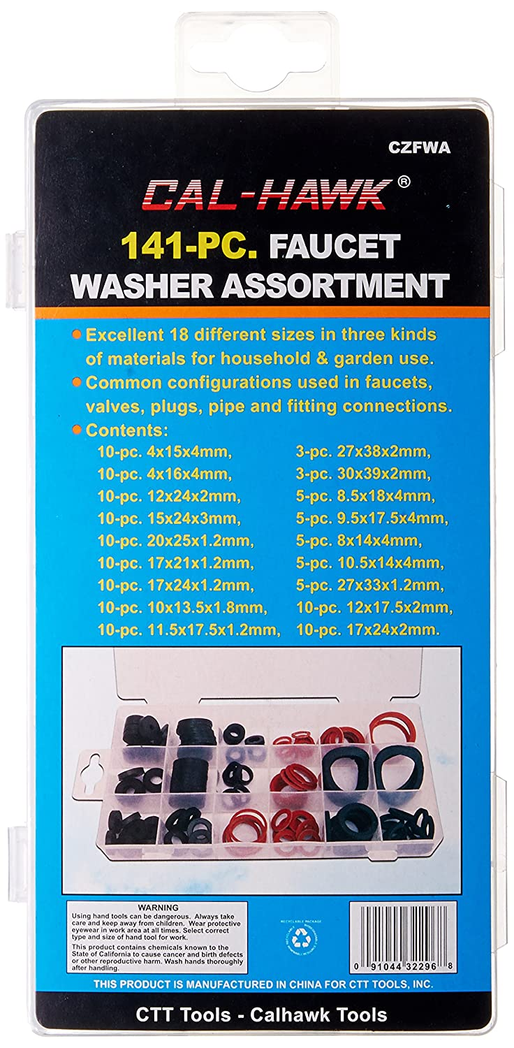 Cal Hawk CZFWA 141-pc. Faucet Washer Assortment Kit, 18 Different ...