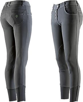 EQUI-THÈME Culotte Equitation Femme - Pantalon Button - Gris Foncé - 44 c74d6c8f6fb