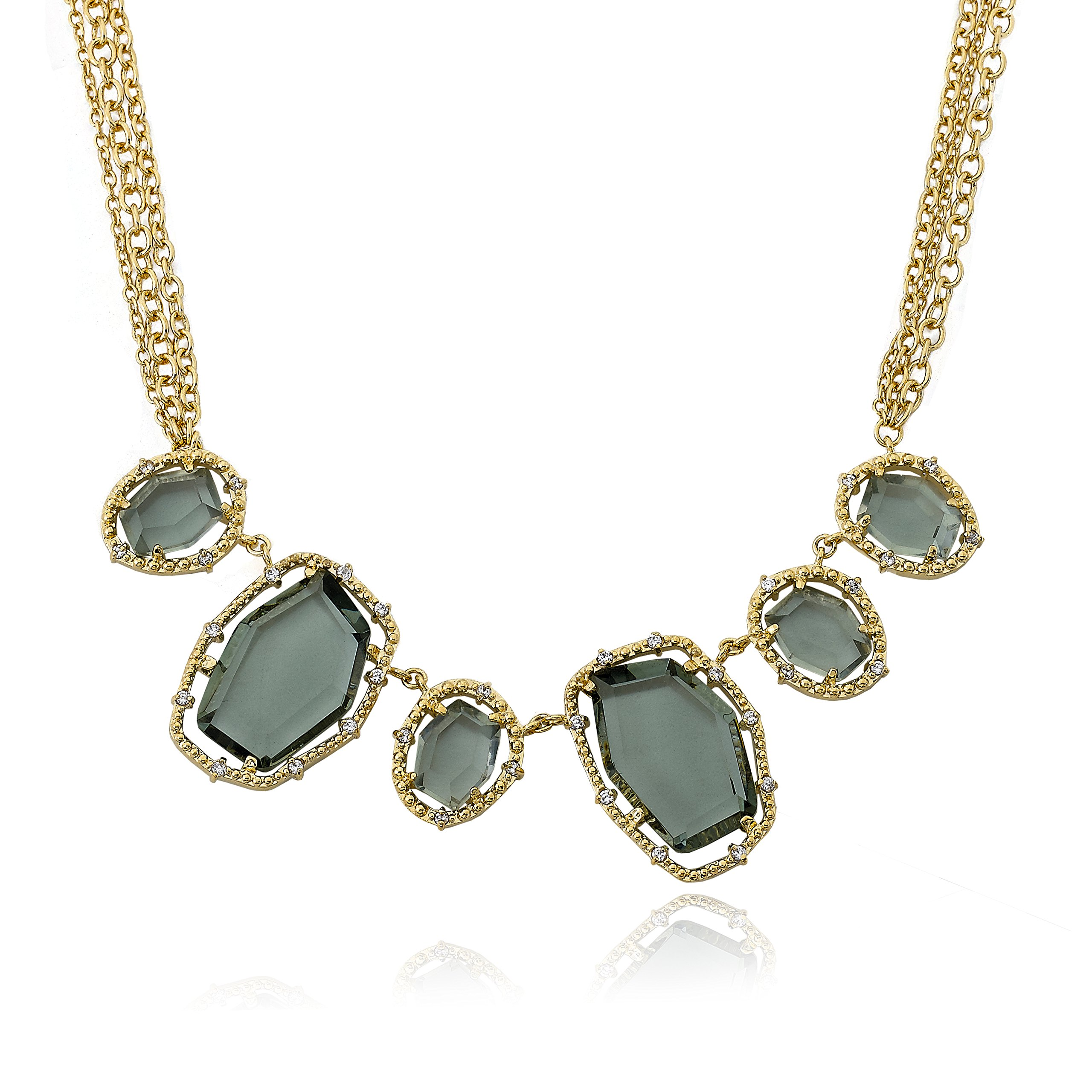 Riccova Sliced Glass 14k Gold-Plated Black Sliced Glass Center Chain Necklace 16''/2''