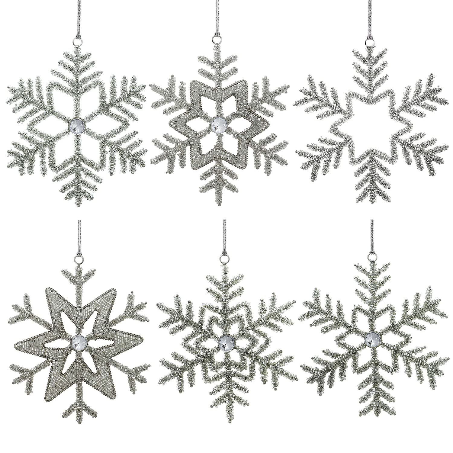 Set of 6 Handmade Snowflake Iron and Glass Pendant Christmas Ornaments 6 Inches