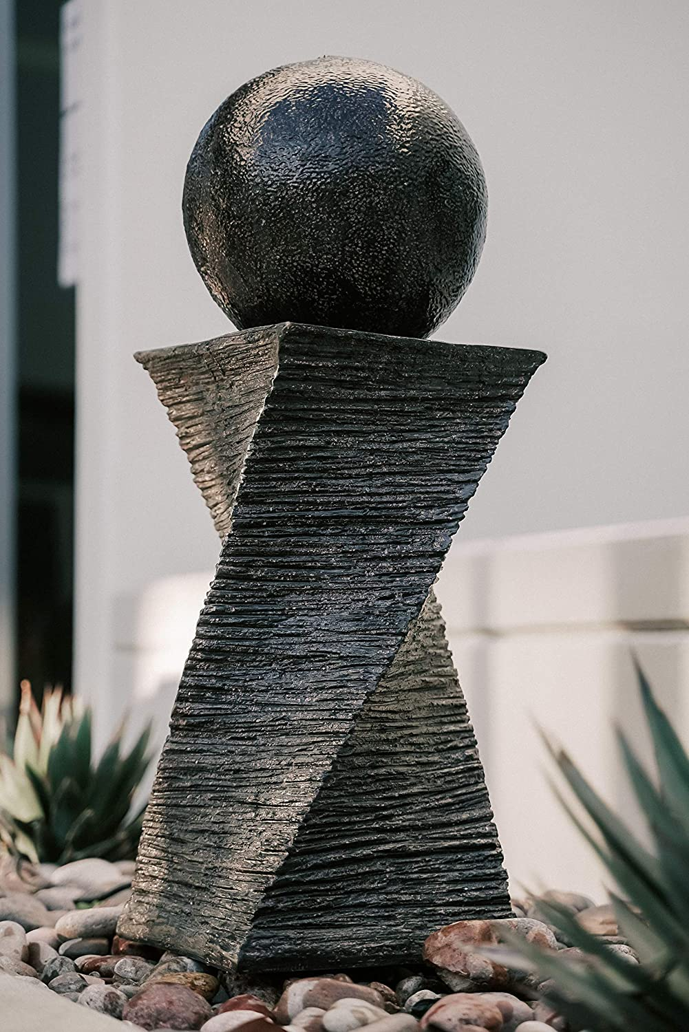 XBrand CR3012FTBK Modern Curved Swirl Sphere Water Fountain, Indoor Outdoor Décor, 30 Inch Tall, Black