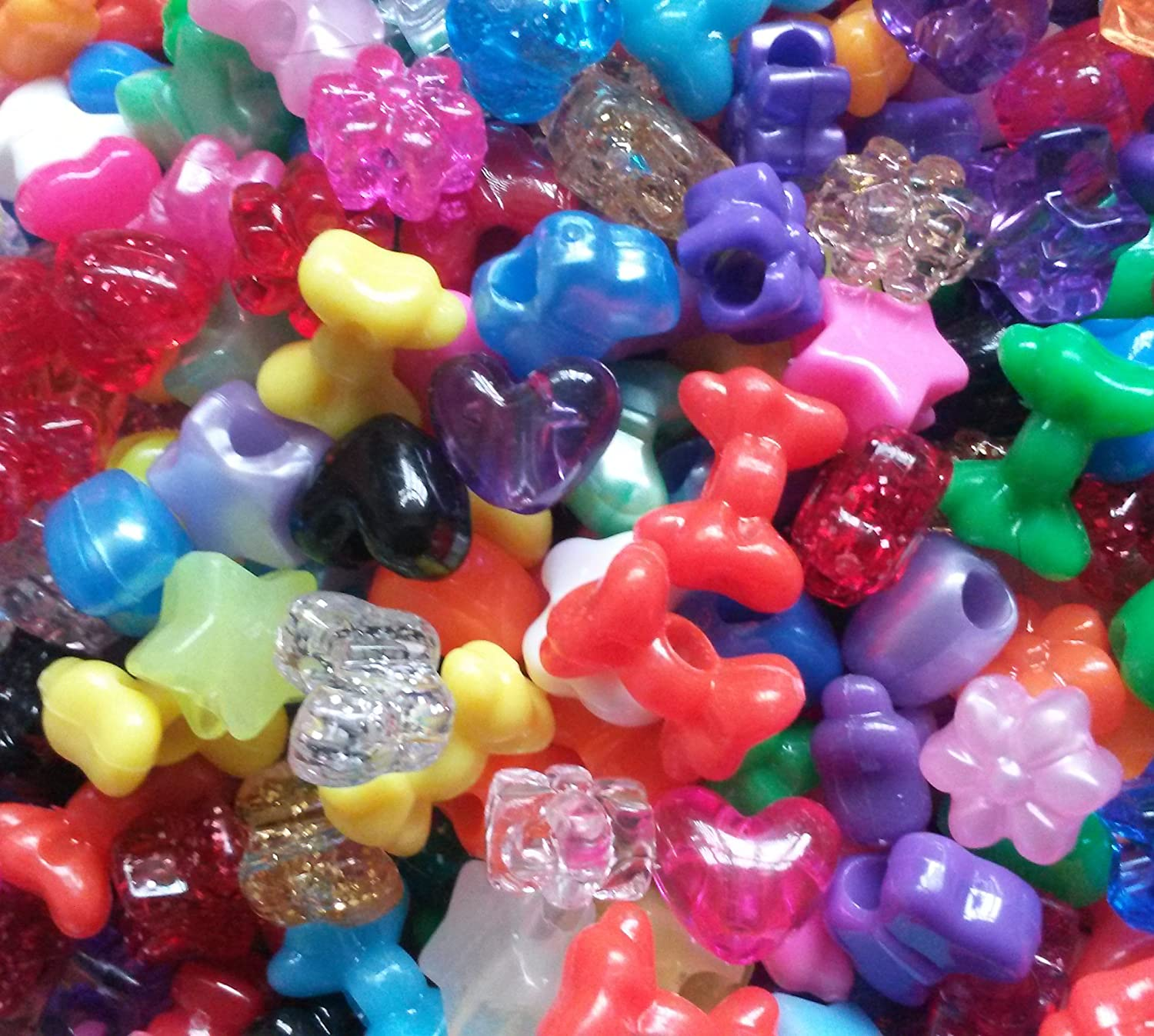 100 Mixed Shapes Stars Hearts Bows Flowers Butterflies Pony Beads by KCG Trading The Beadery