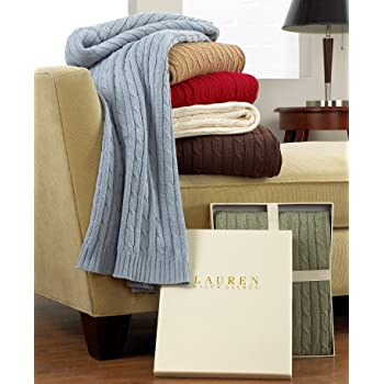 Amazon Com Ralph Lauren Cable Knit Throw Off White