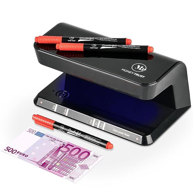 Detector Billetes Falsos UV con 3 bolígrafos detectores incluidos de MoneyTrust que sirven para detectar billetes falsos con dos pasos y documentos con ...