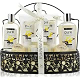 PURE Spa Gift Basket for Men & Women. Gift with Lush Bath Bombs, Bubble Bath & Perfume Body Lotion Mens Gift Set! Natural Spa Basket Gift for Husband, Father, Boyfriend Gift