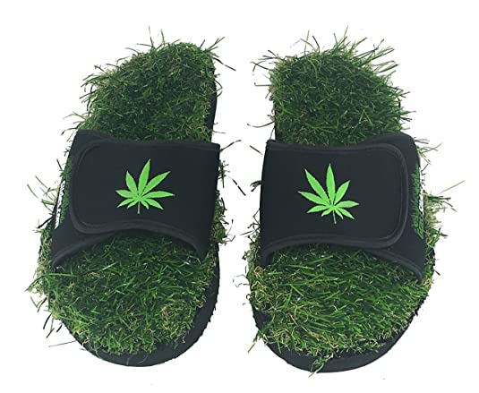 Pot Marijuana Weed Grass Slides shoes are made from real turf, slippers, sandals, flip flops, slips. (S 5-7)