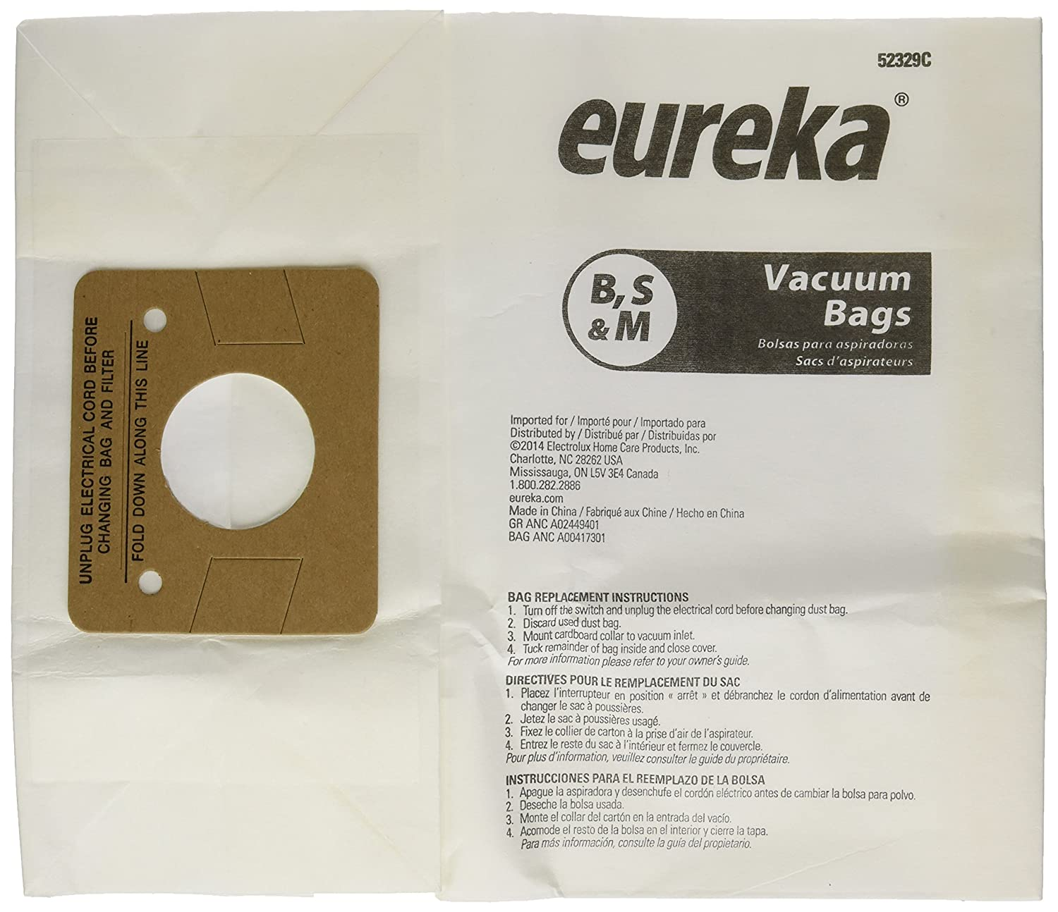 Electrolux Eureka Canister Vacuum Bags Style B Fits Eureka Peggable Polybag Pack / 3