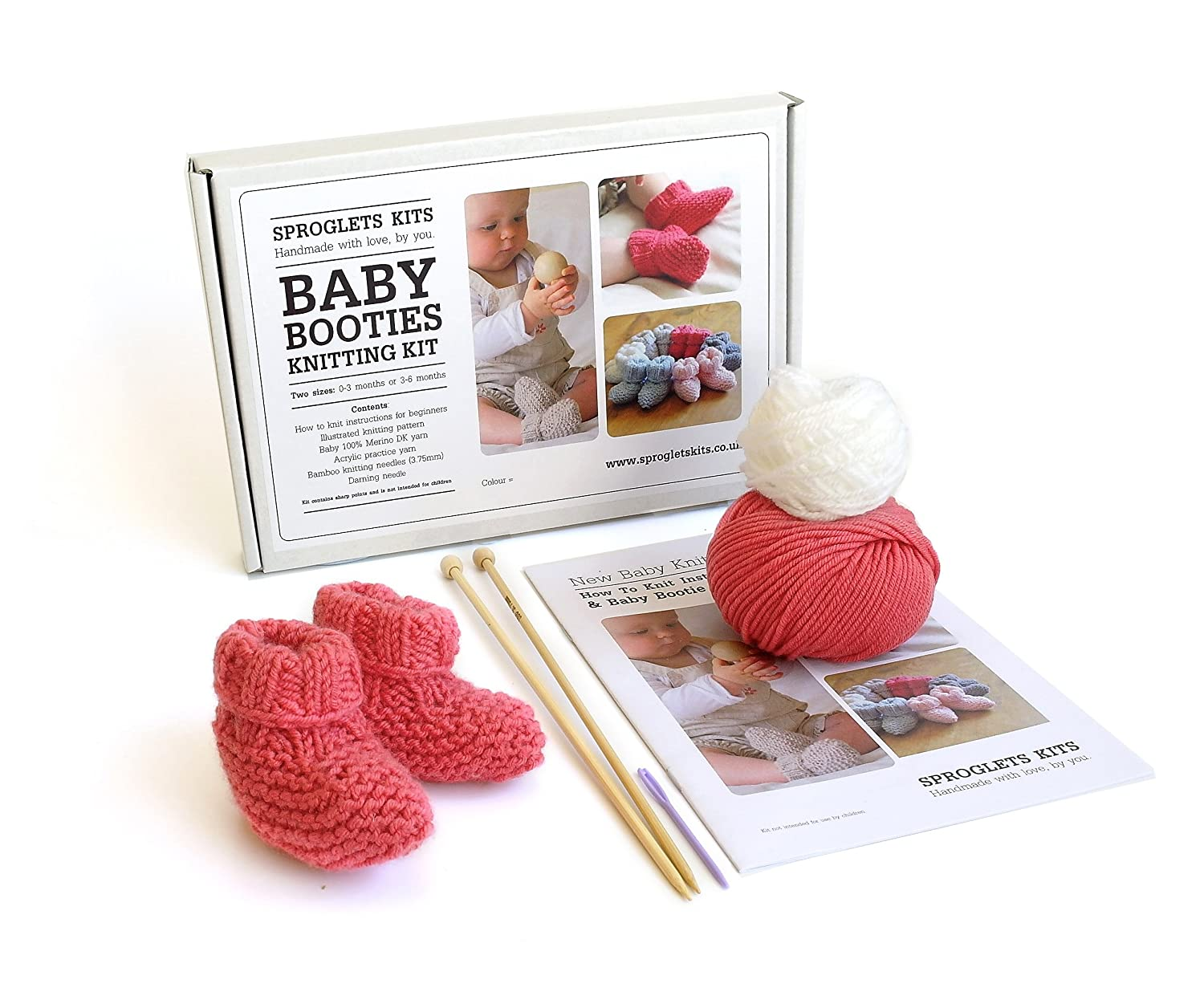 Amazoncom Baby Bootie Box Learn To Knit Kit Coral Pink Baby