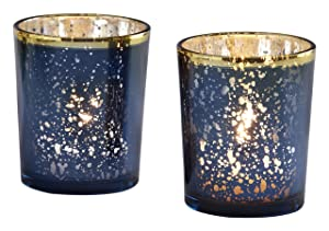 Kate Aspen Mercury Glass Tea Light Holder, Wedding/Party Decorations (Set of 4), Navy/Gold