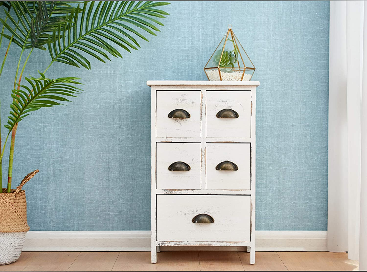 Cherry Tree Furniture Distressed White Paulownia Wood Shabby Chic Cabinet Chest of Drawers, 5 Drawers/w Metal Cup Handles