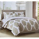 8c16b40d67 Tahari Home Maison Bedding 3 Piece Queen Size Luxury Cotton Reversible Duvet  Cover Set Classical Floating