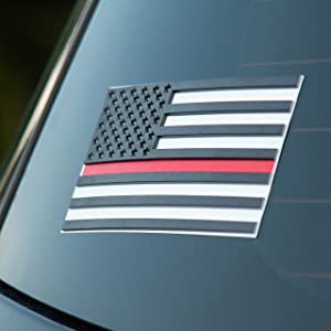 American Flag Red Line Sticker – 3D Premium Firefighter Red Line Decal for Cars – 4 in Pack Firefighter Decals for Trucks Laptop 5.7 х 3 Inch Vinyl Firefighter Bumper Stickers – Embossed Stars