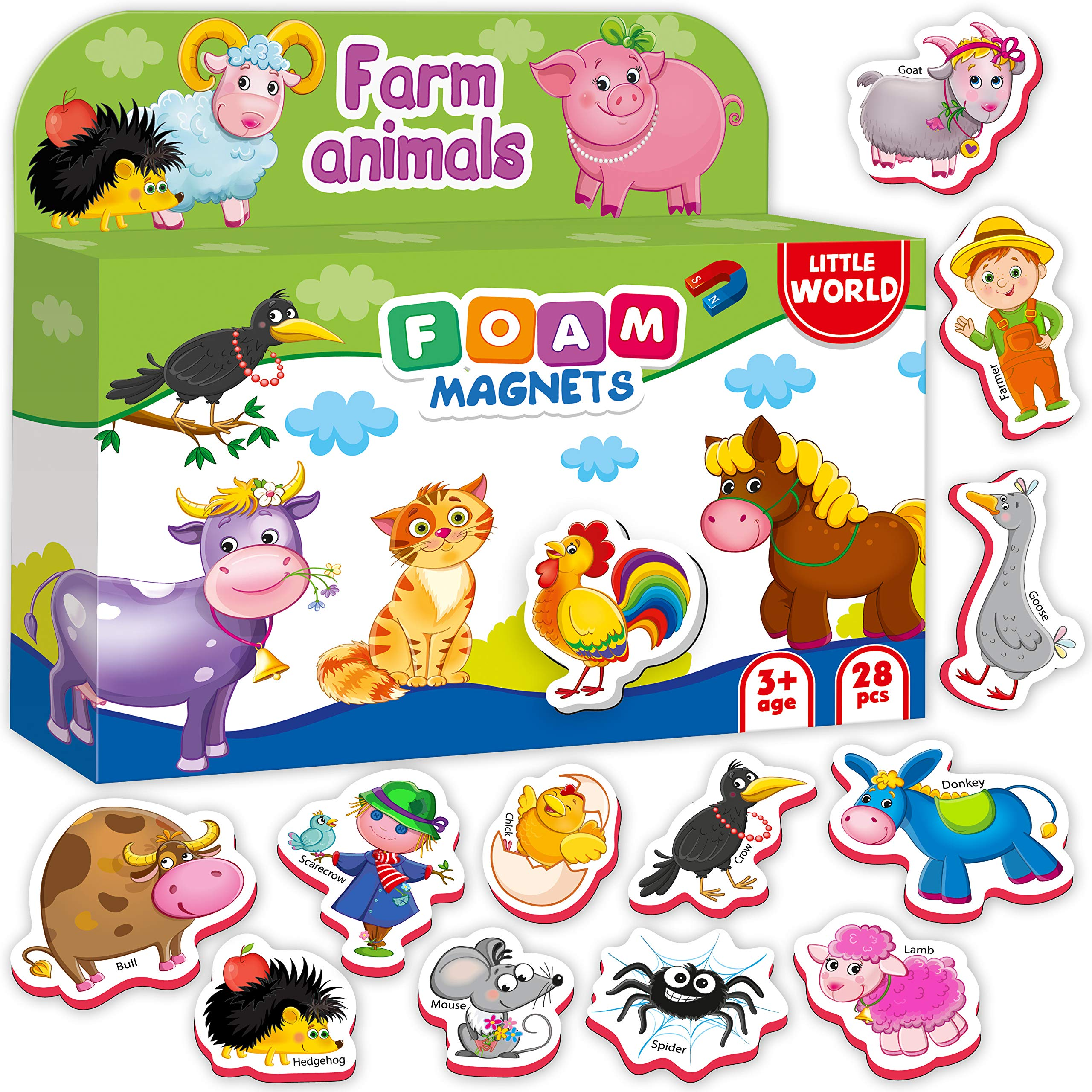 Little World Foam Refrigerator Magnets for Toddlers Age 1 - Fridge Magnets for Kids – Large Baby Magnets Toy – Set of 28 Magnetic Animals for Toddler Learning – Safe Kids Magnets for 2 3 Year Old