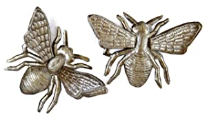"'Buzzing Around' Haitian Metal Bumble Bee Wall Art, Bumble Bee Wall Decor For House Or Garden, Recycled Haitian Metal Wall Art, Set of 2, 6"" x 6"""
