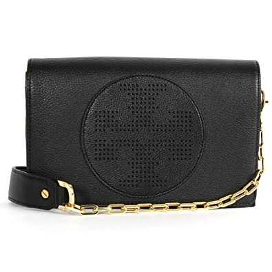 709d80cca98 Image Unavailable. Image not available for. Color: Tory Burch Kipp Cross  Body Bag Black leather handbag flap New