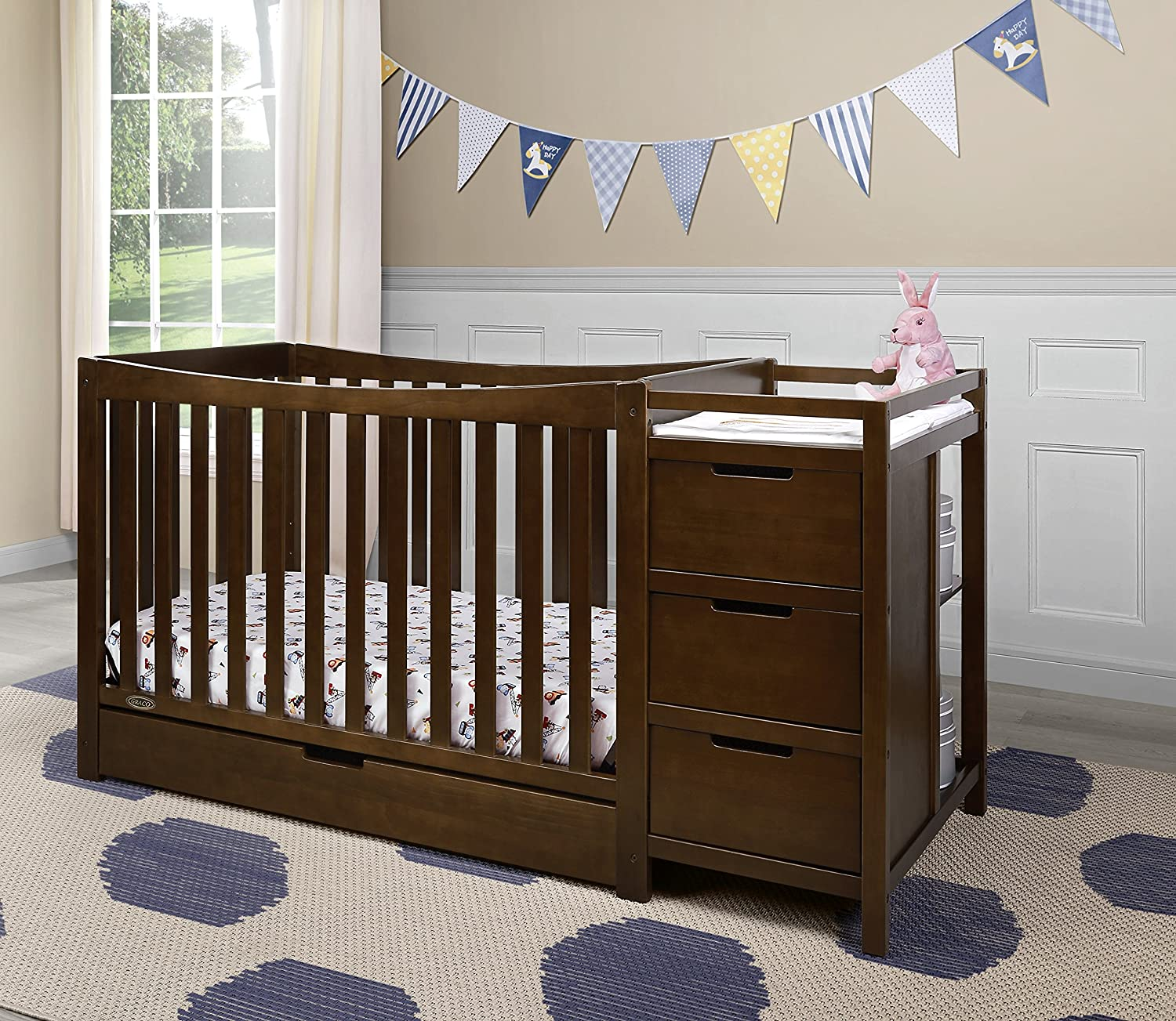 Graco Remi 4-in-1 Convertible Crib and Changer Three Position Adjustable Height Mattress Assembly Req Easily Converts to Toddler Bed Day Bed or Full Bed Mattress Not Included Pebble Gray//White