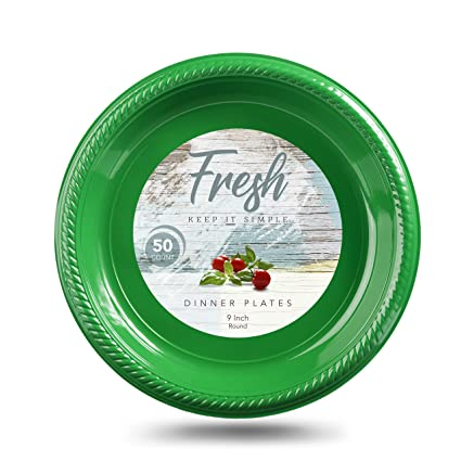 Disposable Dinner Plates by Fresh | 9-Inch Dinner Plate Set Choose White  sc 1 st  Amazon.com & Amazon.com: Disposable Dinner Plates by Fresh | 9-Inch Dinner Plate ...