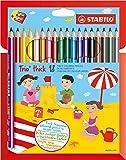 STABILO Trio - Étui carton de 18 crayons de couleur triangulaires + taille-crayon