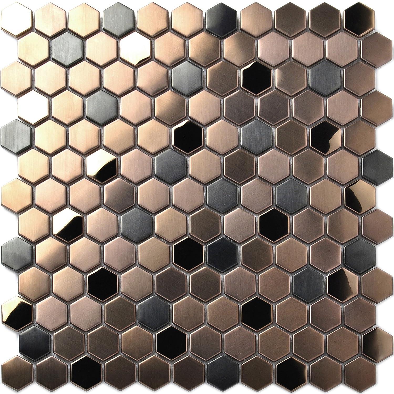 Hexagon Stainless Steel Brushed Mosaic Tile Bronze Copper Color Black Bathroom Shower Floor Tiles Tstmbt021 10 Square Feet