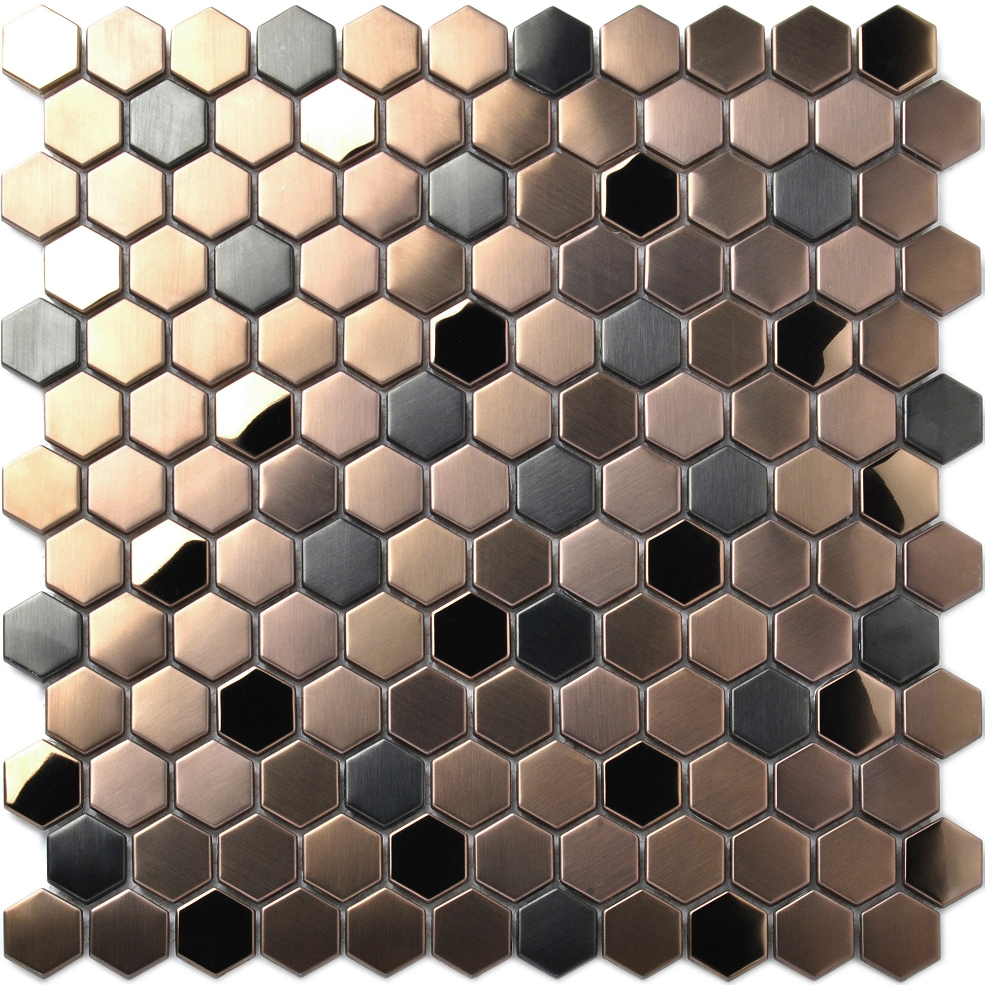 Hexagon Stainless Steel Brushed Mosaic Tile Bronze Copper Color Black Bathroom Shower Floor Tiles TSTMBT021 (1 Sample 12x12 Inches) by TST MOSAIC TILES