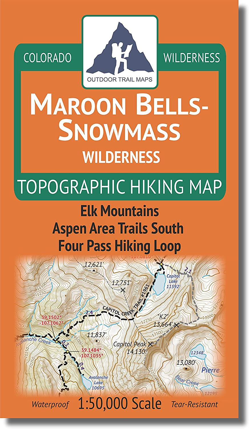 Maroon Bells Snowmass Wilderness Colorado Topographic Hiking Map 2018