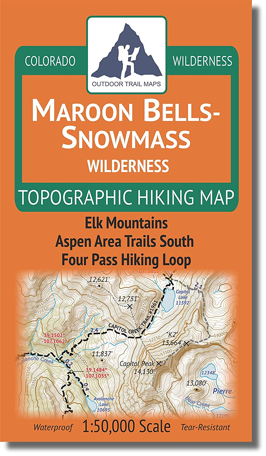 Maroon Bells-Snowmass Wilderness - Colorado Topographic Hiking Map (2018) Outdoor Trail Maps LLC
