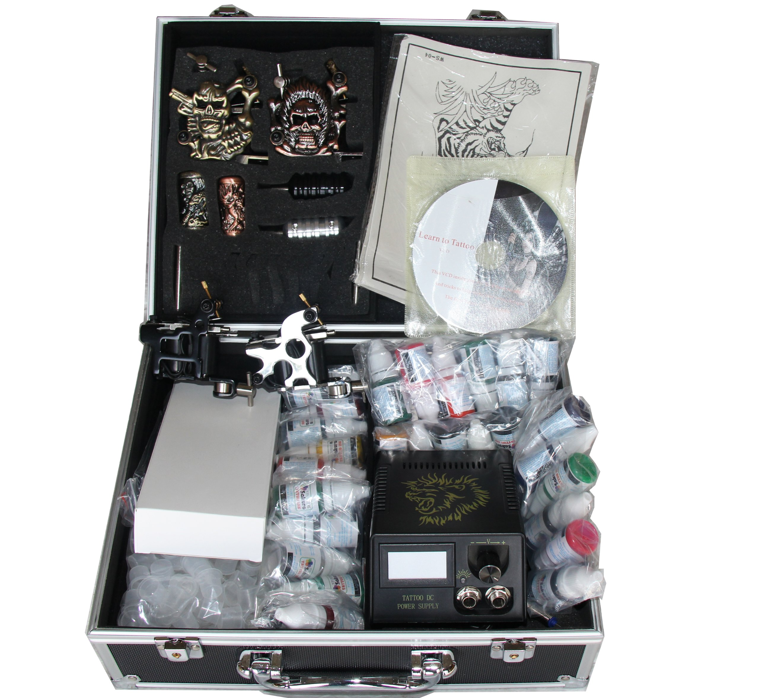 Professional 4 Machine Guns Tattoo Kit LCD Digital Power Supply Needle 30 Color 10ml Inks (G6)