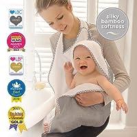 Cuddledry – Toalla de manos libre para bebé, suave color gris con ribete de estrella gris