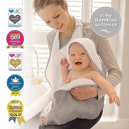 Cuddledry – Toalla de manos libre para bebé, suave color gris con ribete