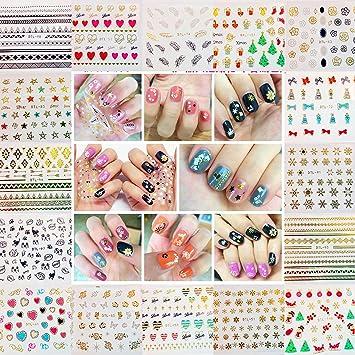 JZK 32 Hojas 3D pegatina de uñas etiqueta DIY uñas decal para adultos y niños decoraciones uñas regalo cumpleaños navidad fiesta