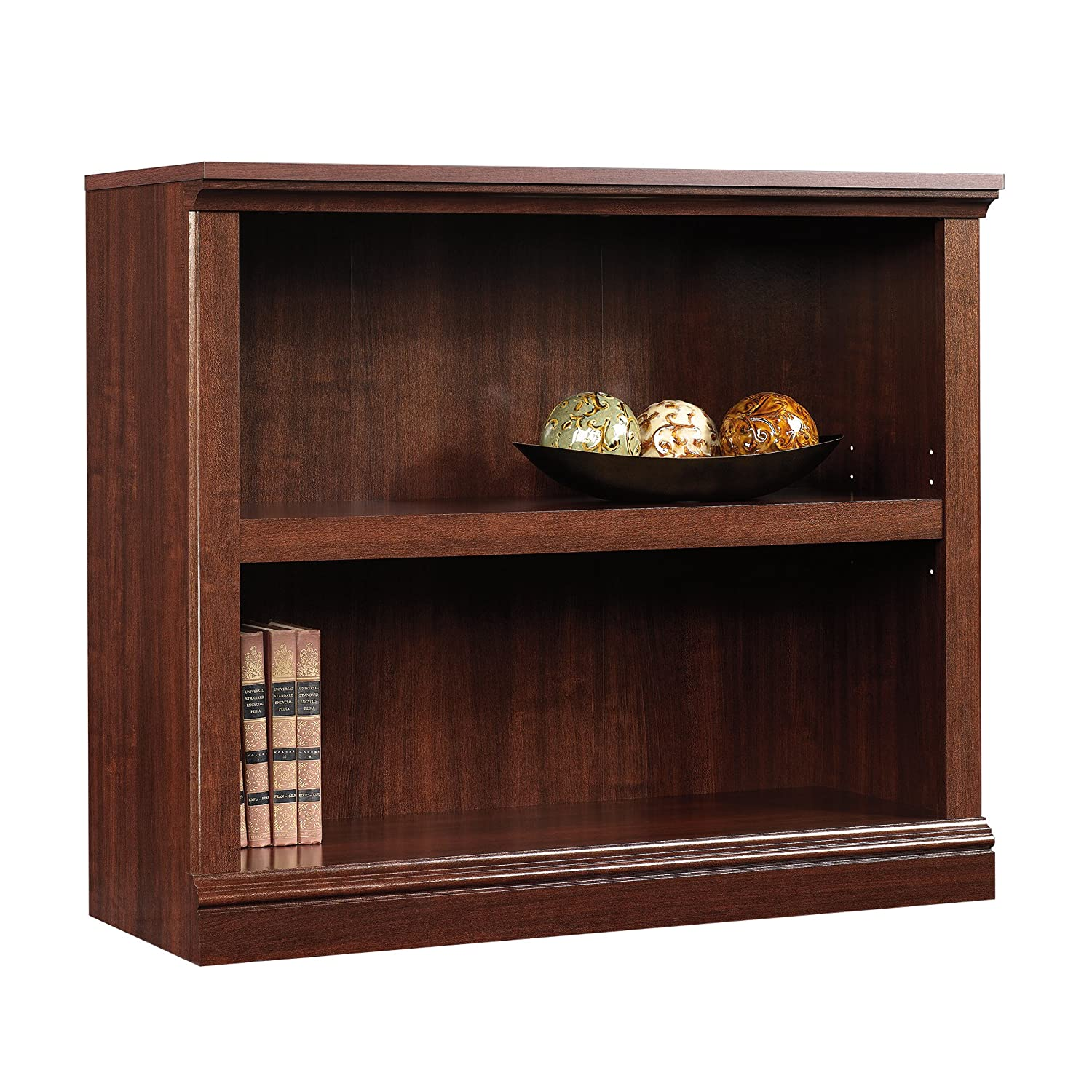 sauder 2 shelf bookcase select cherry finish kitchen