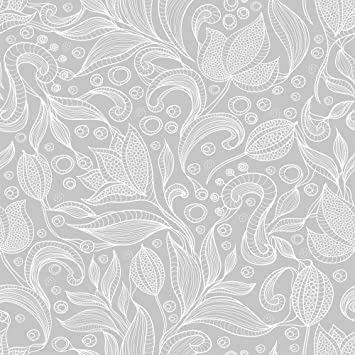 Wallsbyme Peel And Stick Gray Botanical Floral Fabric Removable Wallpaper 3535 2ft X 8 5ft 61x260cm Amazon Com