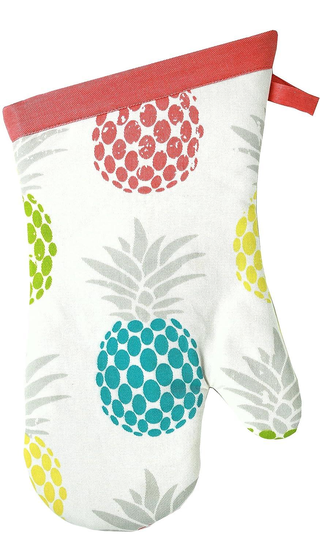 MUkitchen 100% Cotton, Terry-Lined Designer Oven Mitt, Pineapple Medley - 13 inch