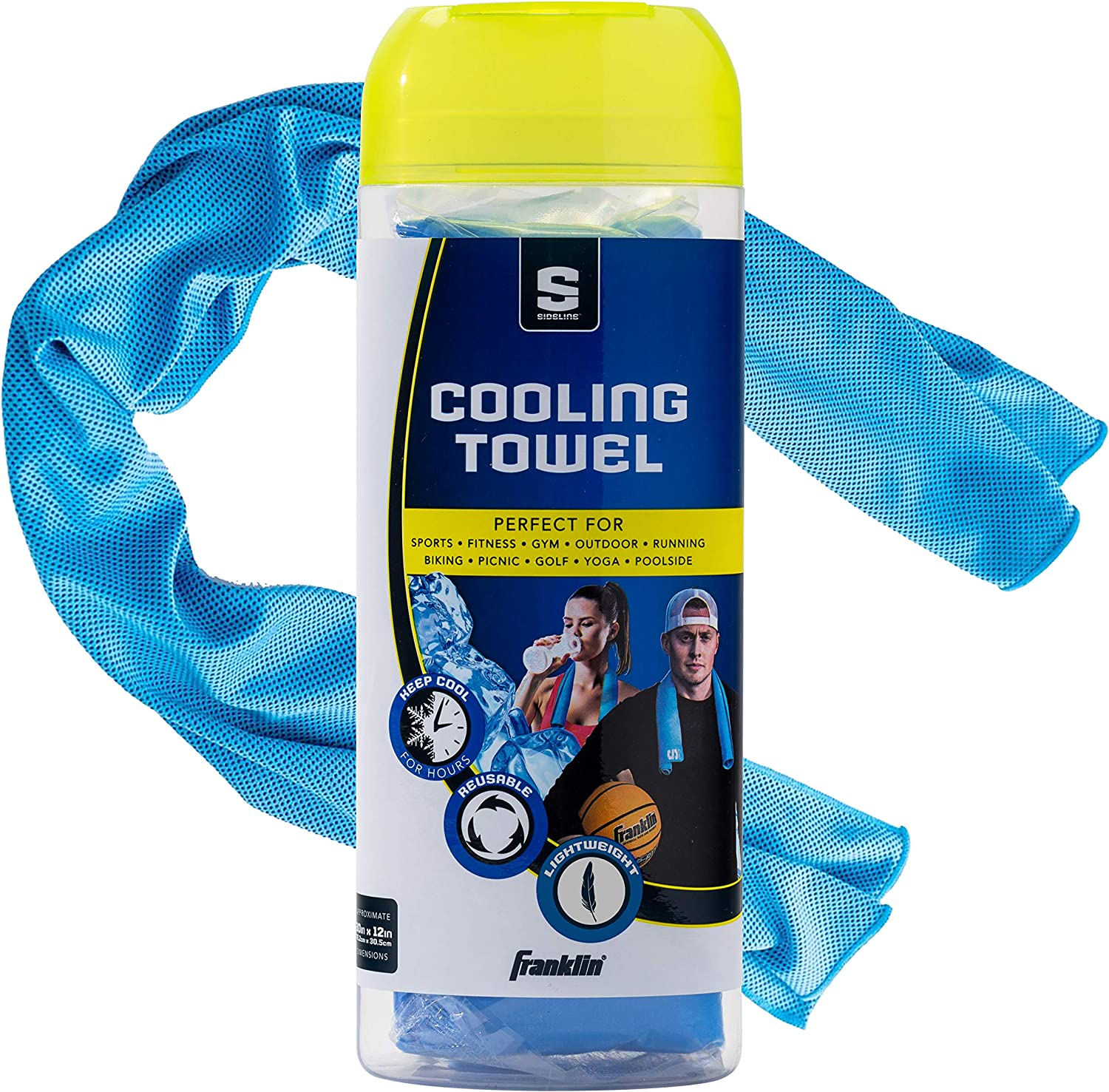 Franklin Sports Sideline Cooling Towel – Snap Cooling Towel for Athletes and Sports – Cools Body on Hottest Days – PVA Material, Antibacterial and Environmentally Friendly – Cool Blue