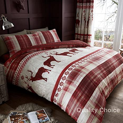 Copripiumino Renne.Heritage Stag Winter Christmas Reindeer Duvet Cover Set Red