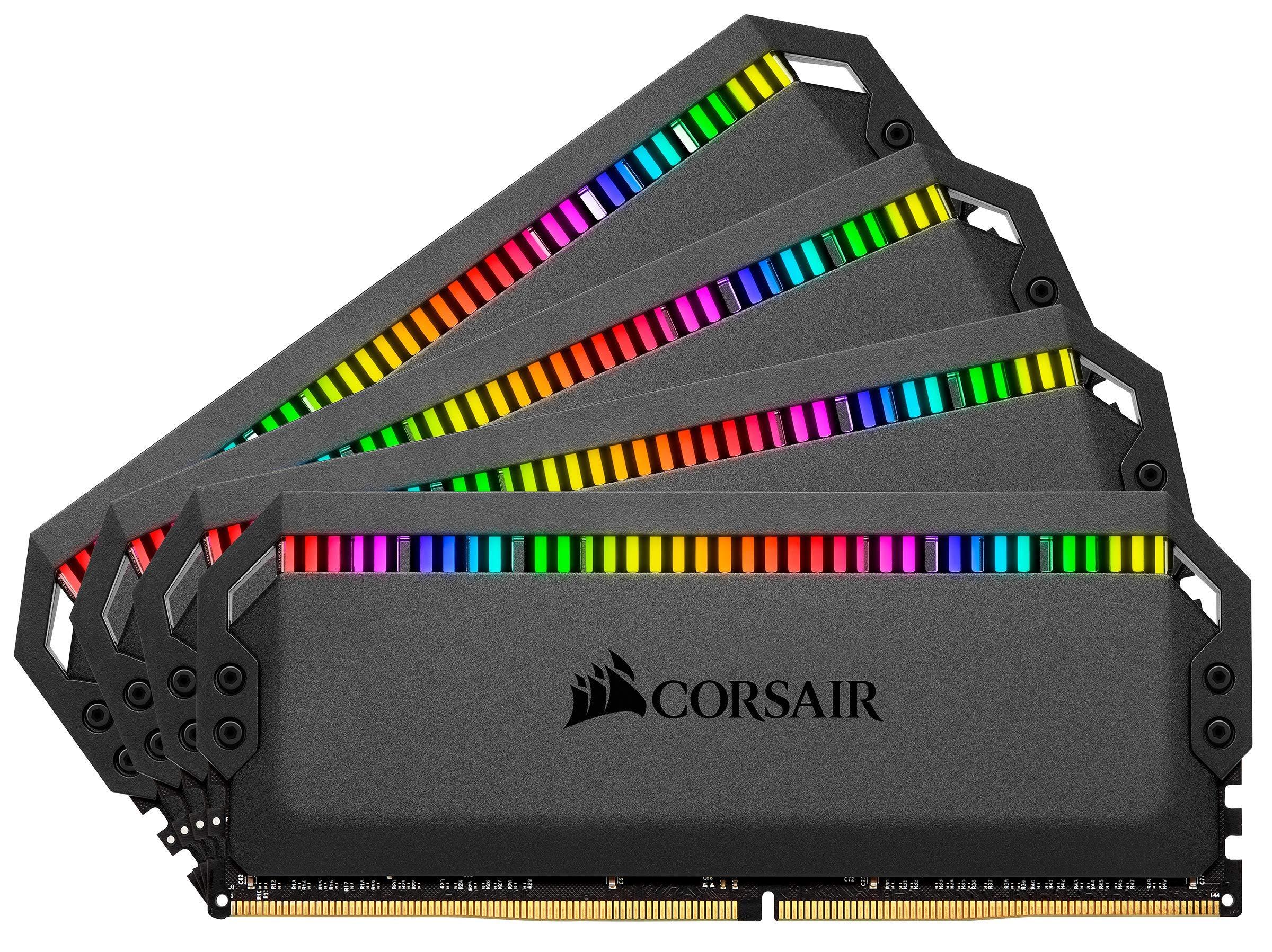 Corsair CORSAIR Dominator Platinum RGB 64GB (4x16GB) DDR4 3600 (PC4-28800) C18 1.35V AMD Optimized Memory - Black…