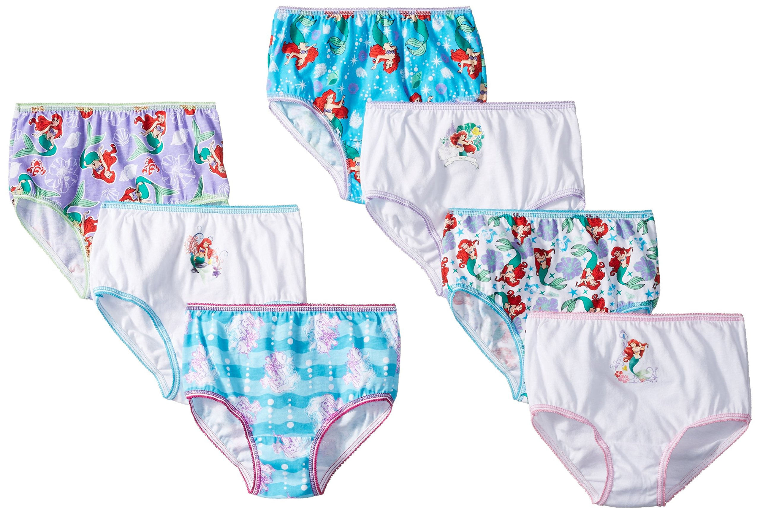 Disney Toddler Girls' Ariel 7pk Panty, Assorted, 2T/3T
