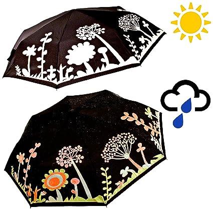 Señoras Flor Y árbol Diseño Cambia Color el paraguas plegable - Bastidor de aluminio compacto