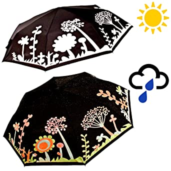 colour changing umbrella with trees and flowers design