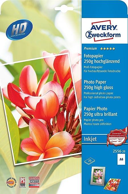 Avery España 2556-20 - Pack de 20 folios de papel fotográfico brillante para impresoras de inyección de tinta, 210 x 297 mm, color blanco